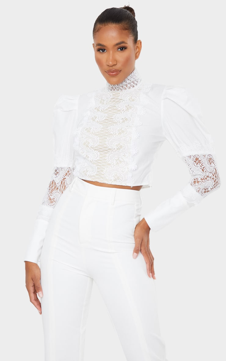 White Woven Lace Panel Puff Sleeve Cropped Blouse 1