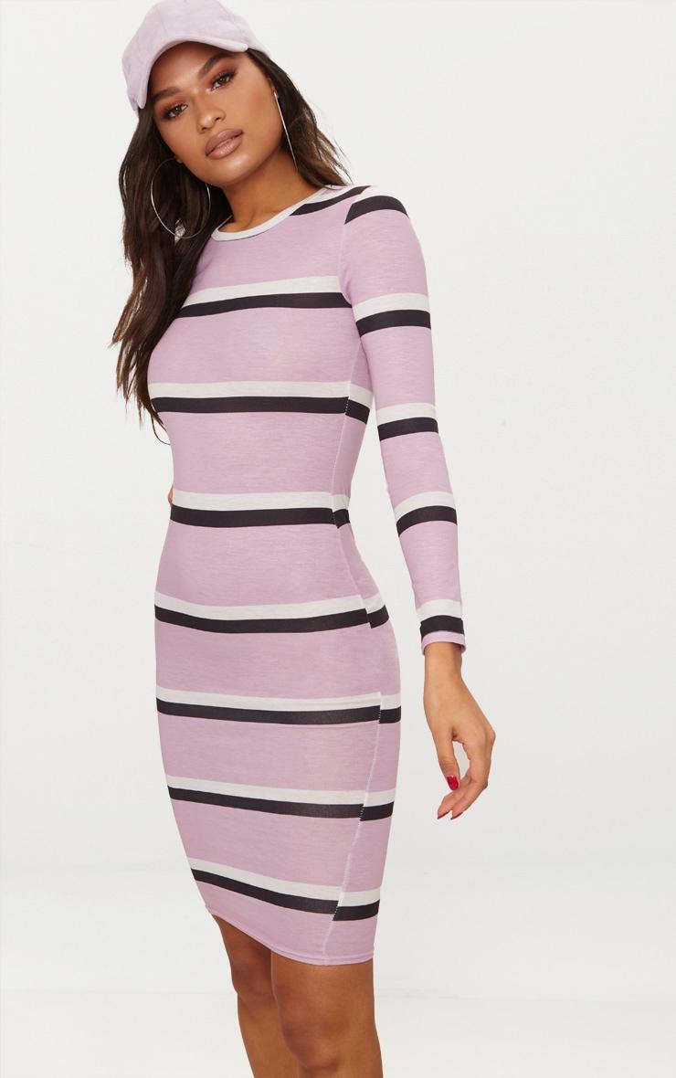 Lilac Striped Long Sleeve Midi Dress 4