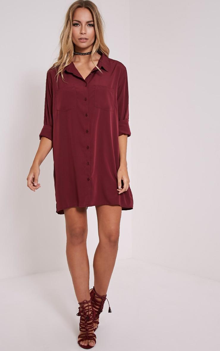 Effy Oxblood Crepe Shirt Dress 4