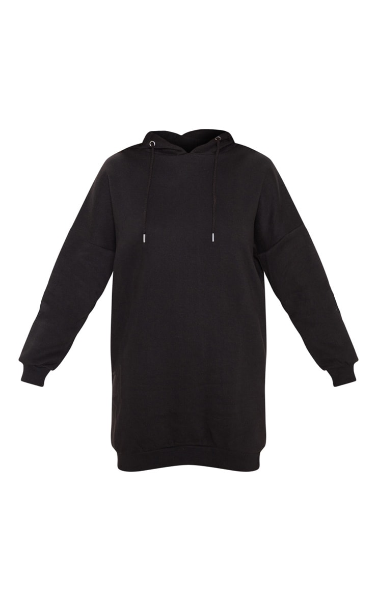 Black Oversized Boyfriend Hoodie Sweatshirt Dress 3