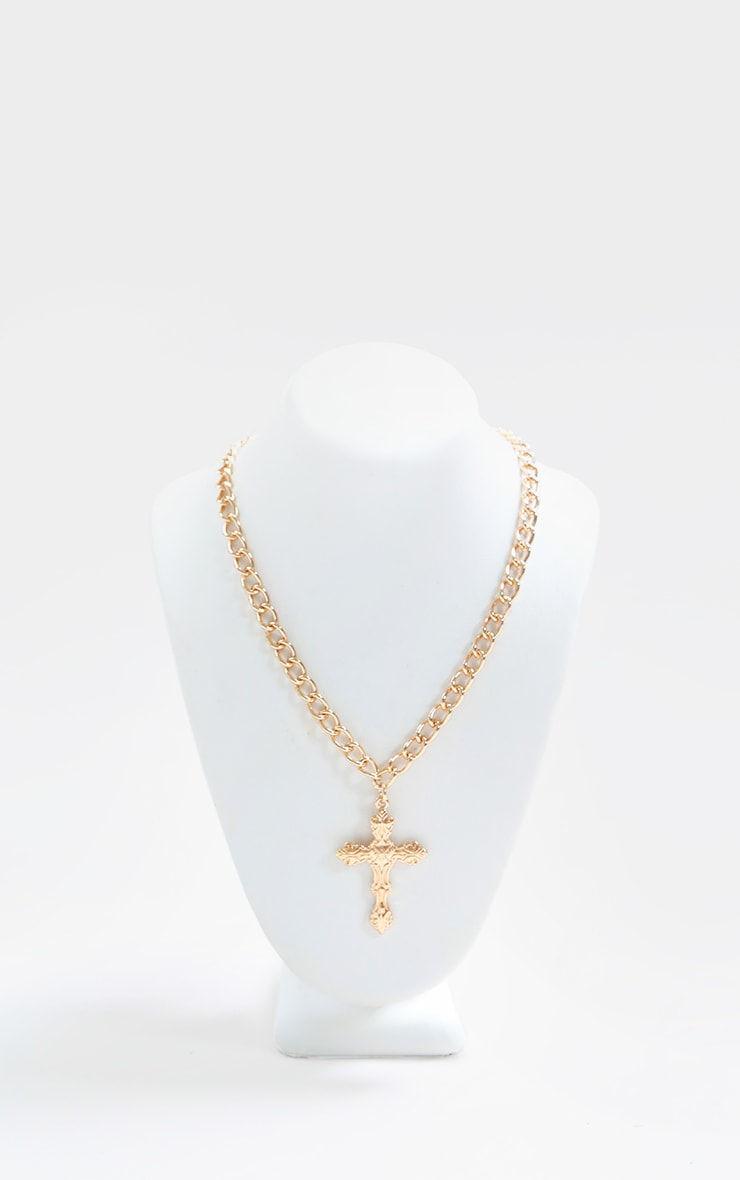 Gold Small Ornate Cross Chain Necklace 1