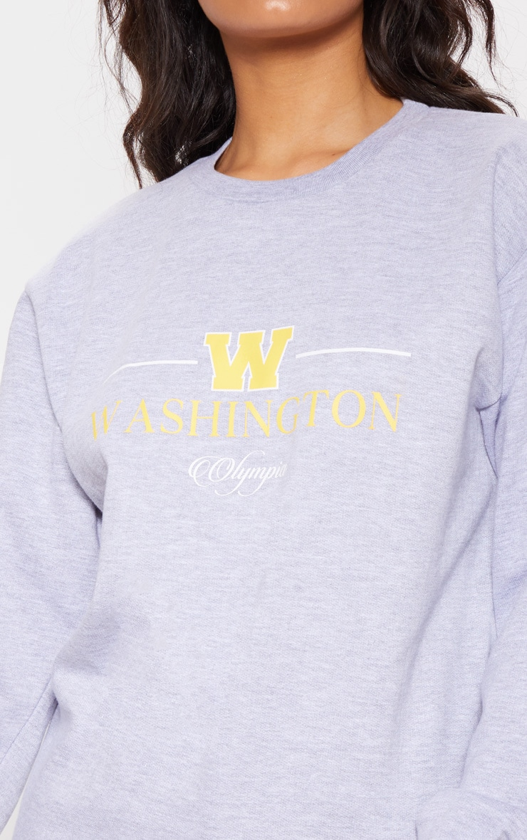 Sweat oversize gris imprimé Washington Olympia 5