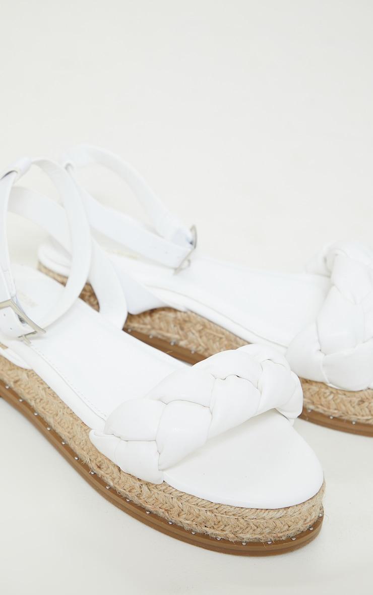 White PU Plait Detail Strappy Espadrille Sandals 3