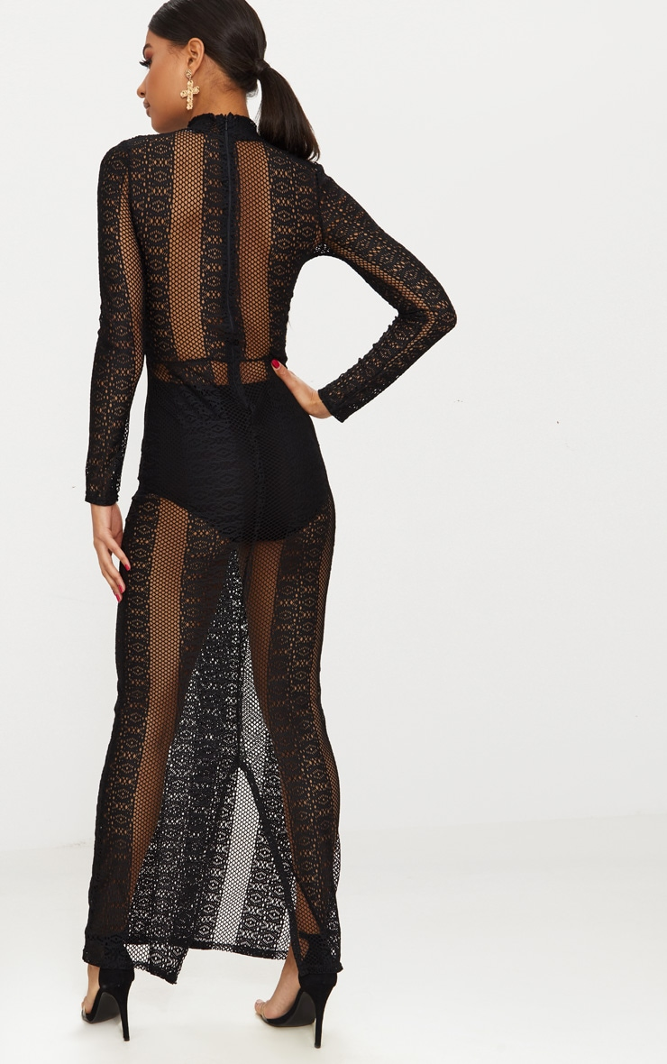 Black Lace Sheer Maxi Dress 2
