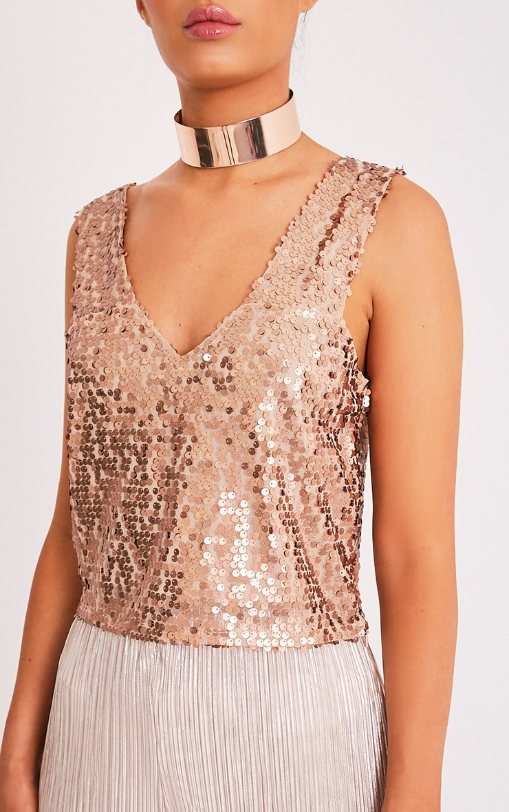 Camari Gold Sequin V Neck Crop Top 6