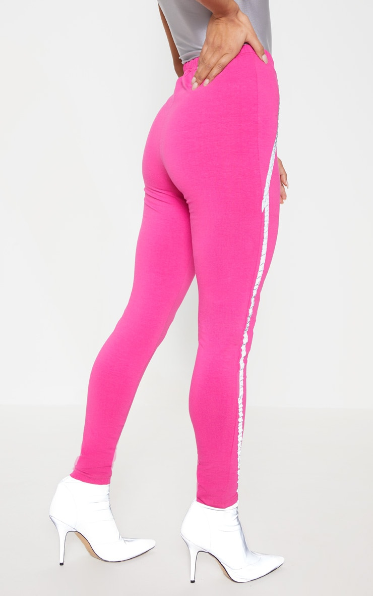Hot Pink Reflective Tape Legging 4