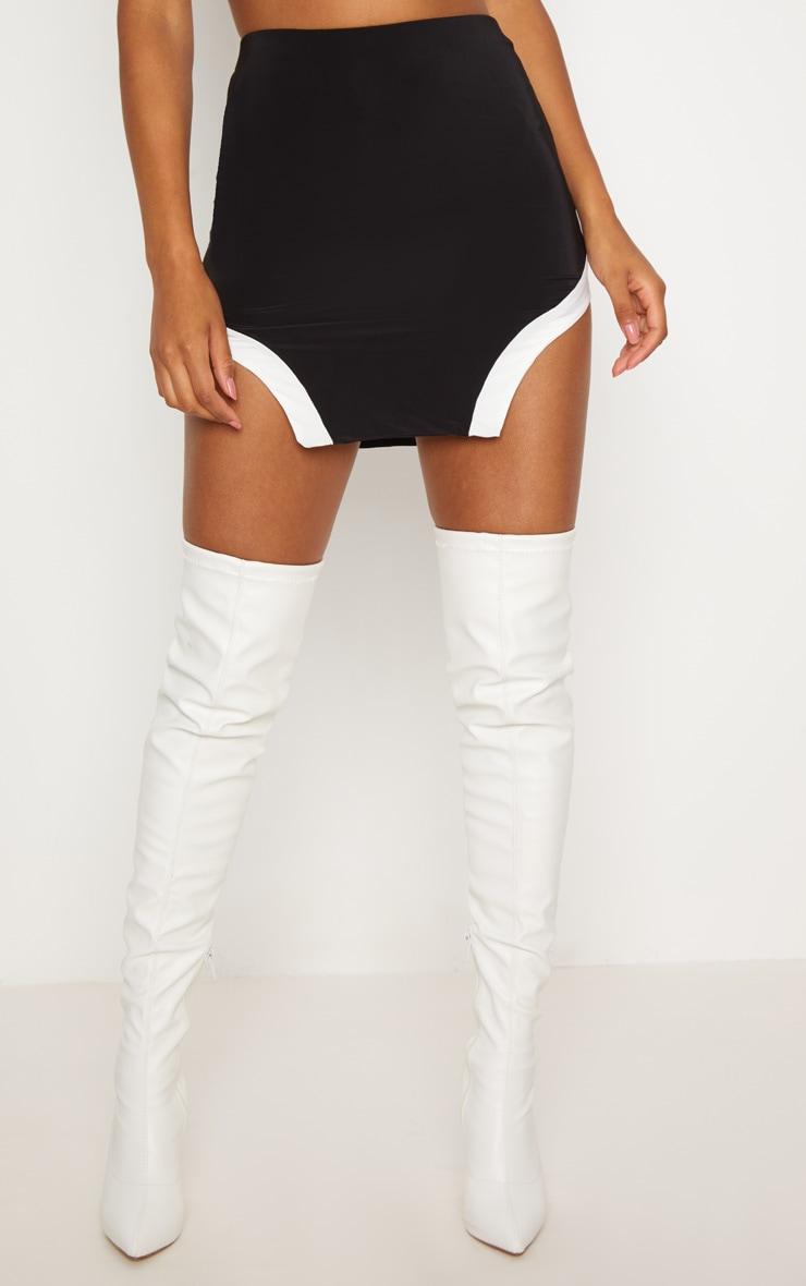 Black Slinky Cut Out Hem Mini Skirt 2