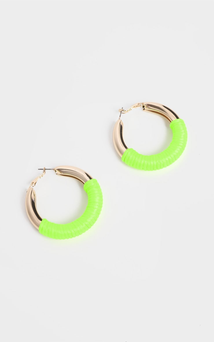 Neon Green Rope Hoop Earrings 2
