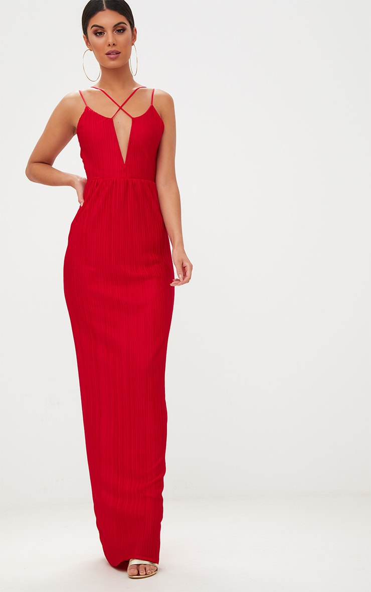 Red Pleated Cross Strap Maxi Dress 1