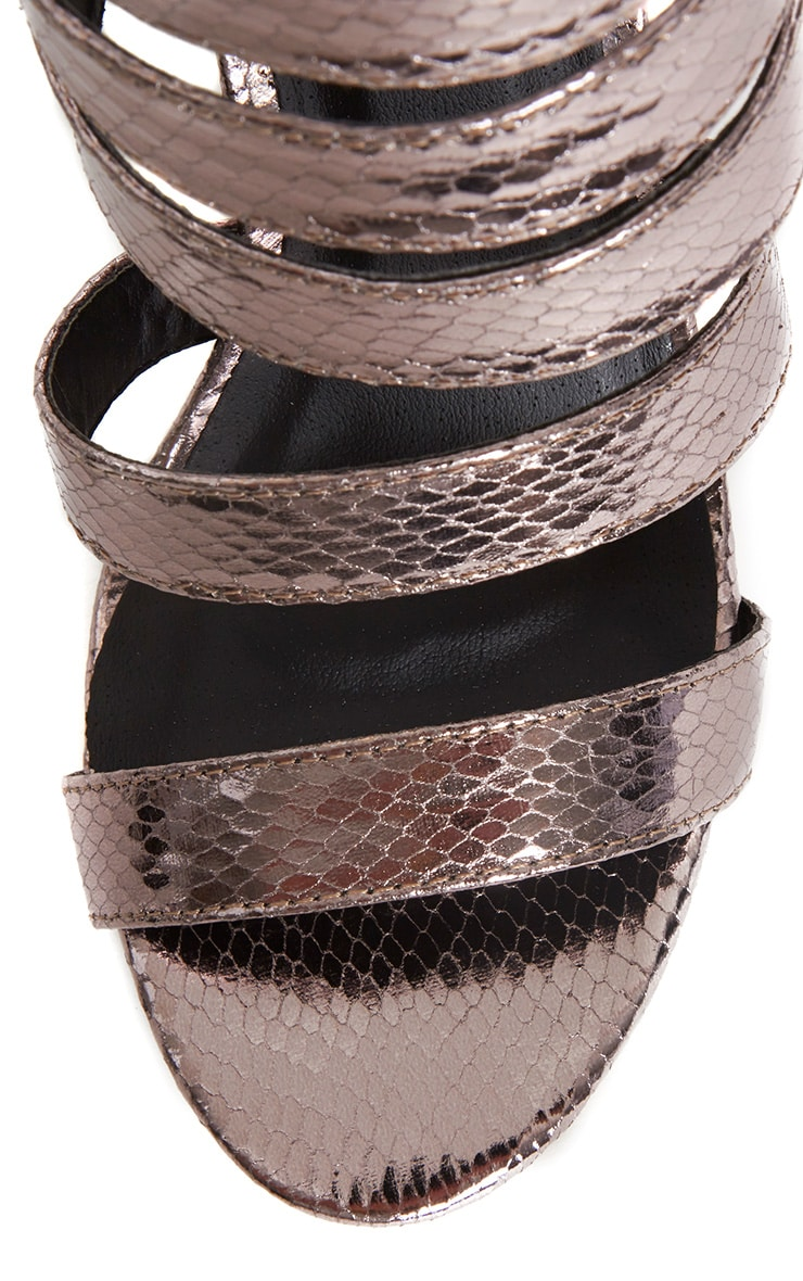 Jemimah Pewter Strappy Heeled Sandals 6