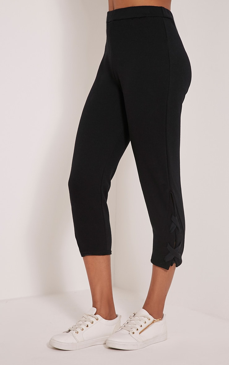 Pia Black Lace Up Side Cropped Joggers 4