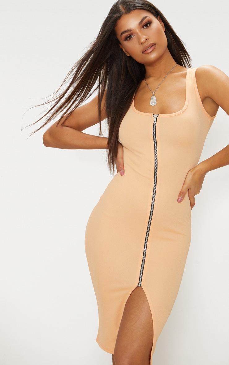 Tangerine Zip Detail Midi Dress 3