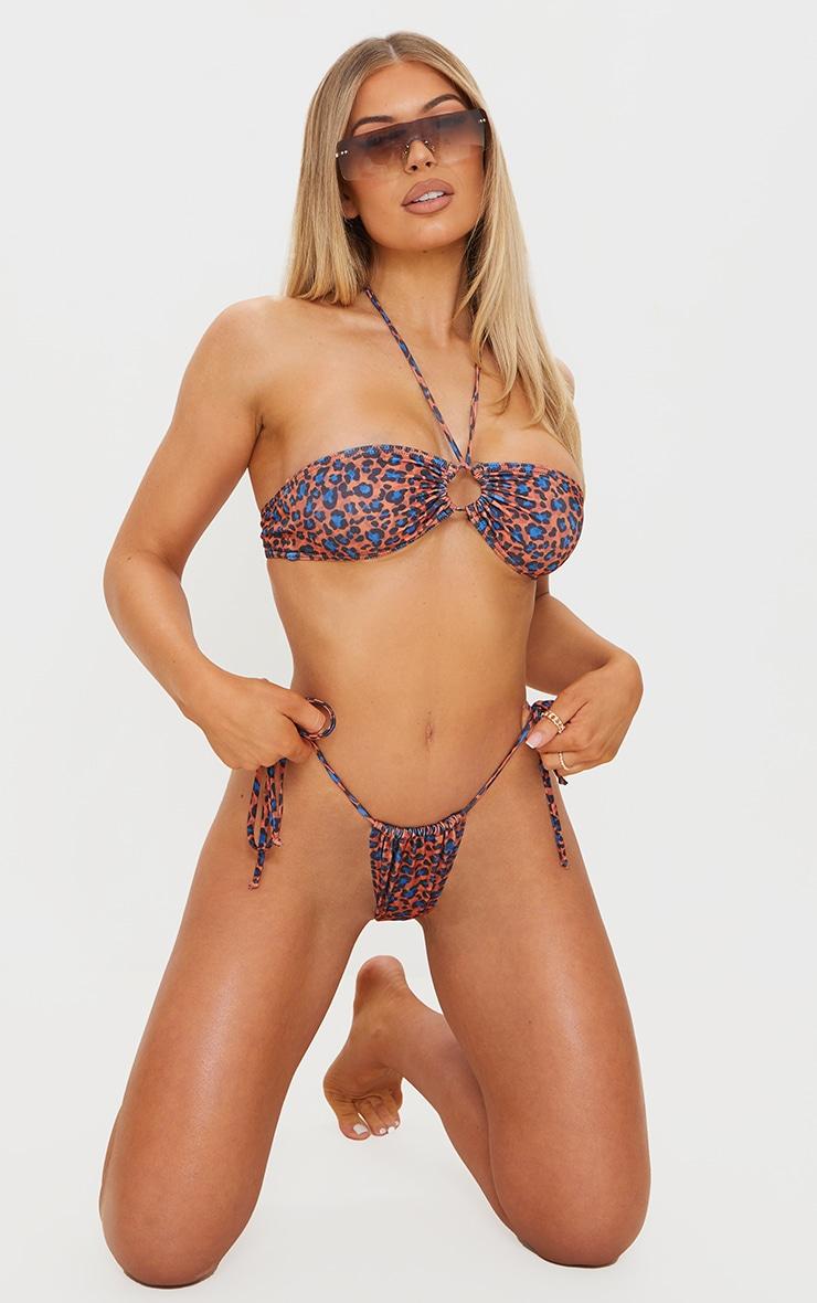 Orange Cheetah Print Tie Back Adjustable Mini Bikini Top 3