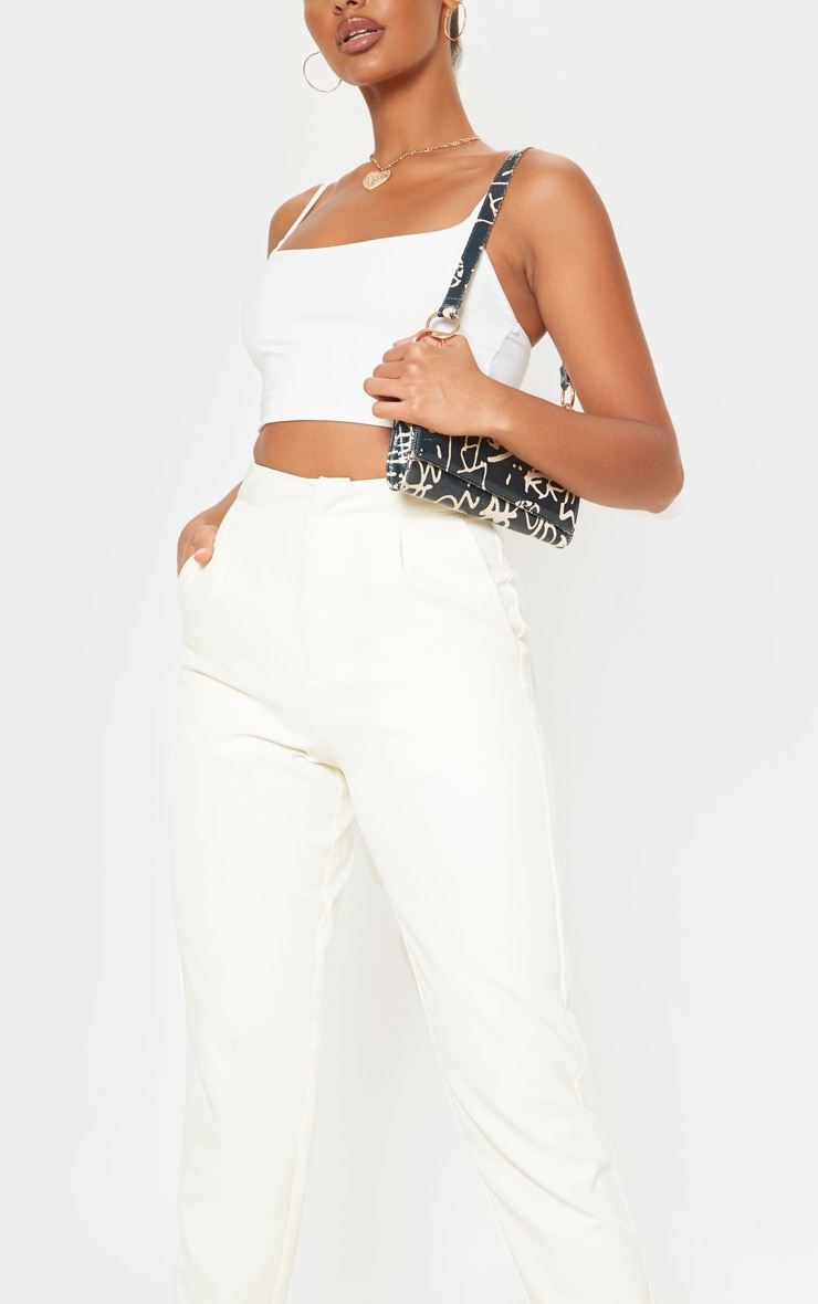 Cream Cropped Pants 5