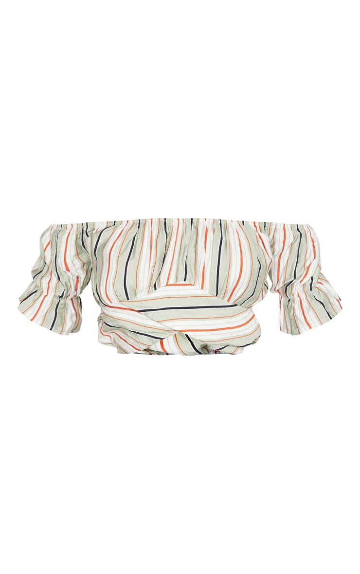 Tall Sage Stripe Bardot Curve Seam Detail Puff Sleeve Crop Top 3