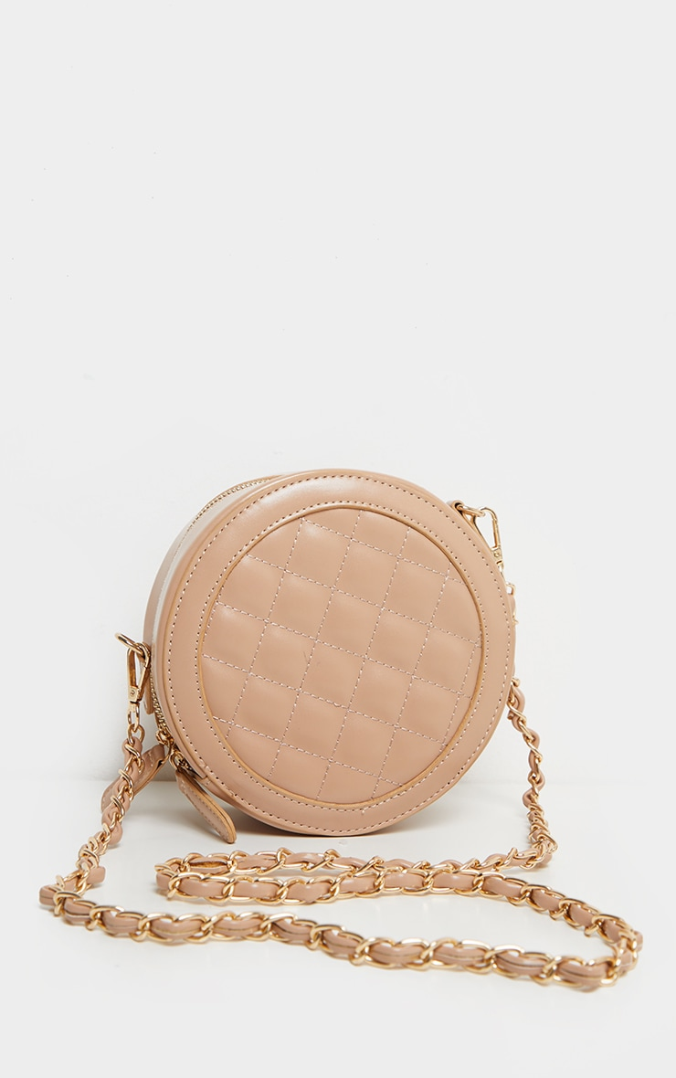 Fawn Quilted PU Circle Cross Body Bag 2