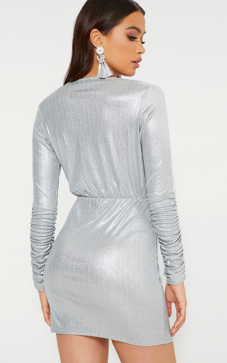 Silver Glitter Plunge Long Ruched Sleeve Bodycon Dress 2