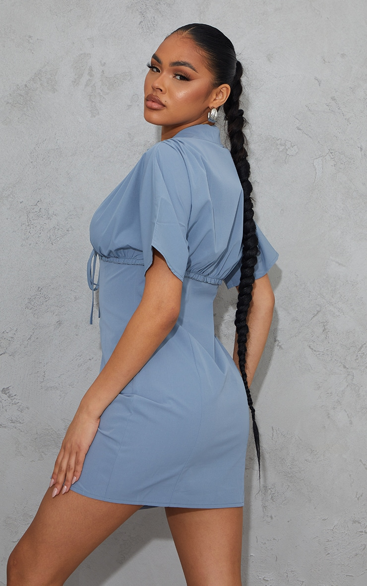 Steel Blue Woven Ruched Tie Detail Short Sleeve Shift Dress 2