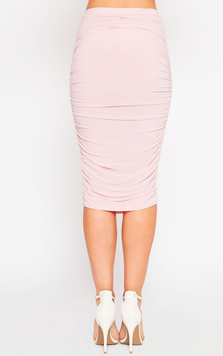 Saylor Baby Pink Slinky Gathered Midi Skirt 4