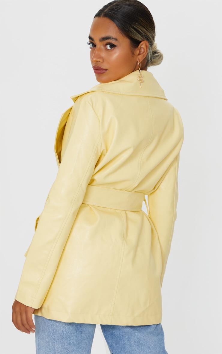 Petite Cream Faux Leather Long Line Tie Waist Blazer 2