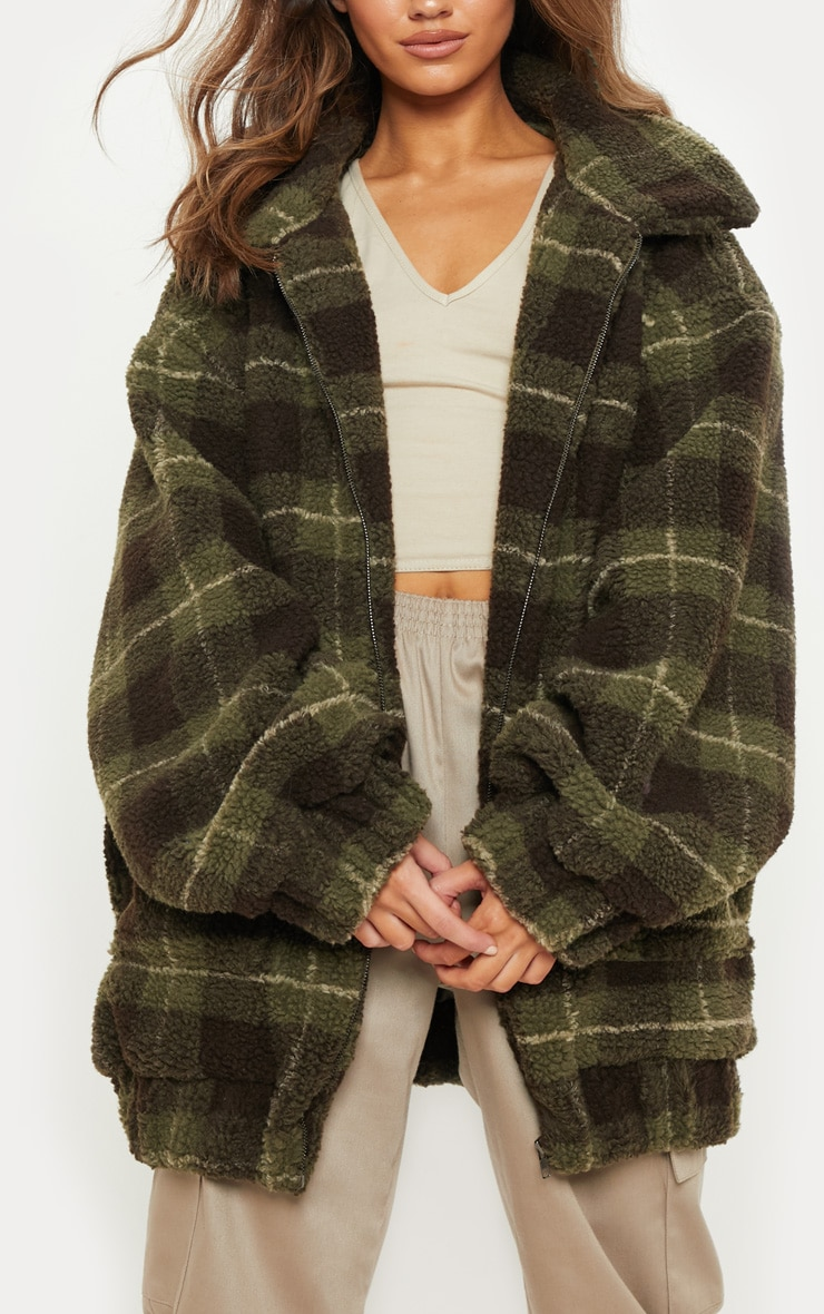 Khaki Checked Borg Jacket 5