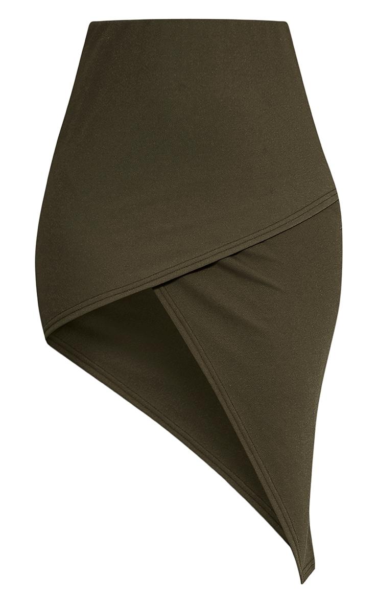 Caryn Khaki Asymmetric Hem Midi Skirt 3