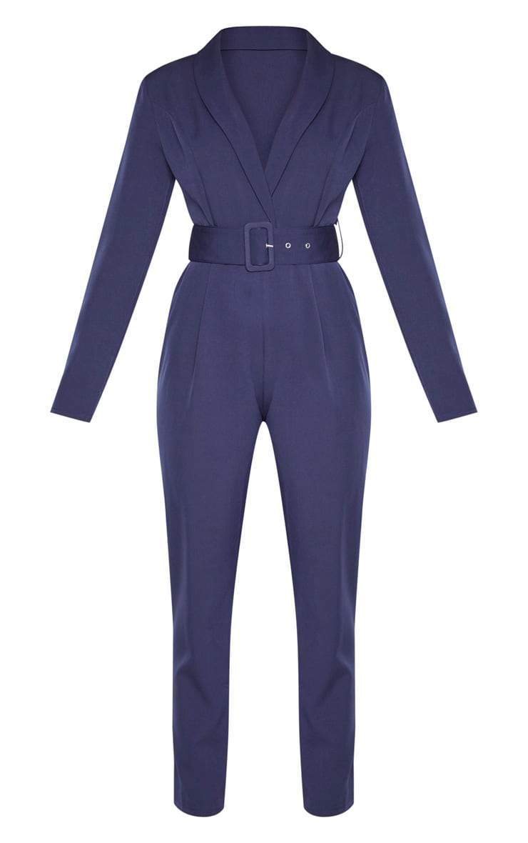 Midnight Blue Lapel Detail Belted Jumpsuit 3