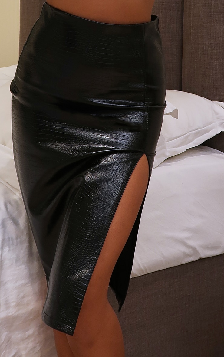Black Faux Leather Croc Midi Skirt 5