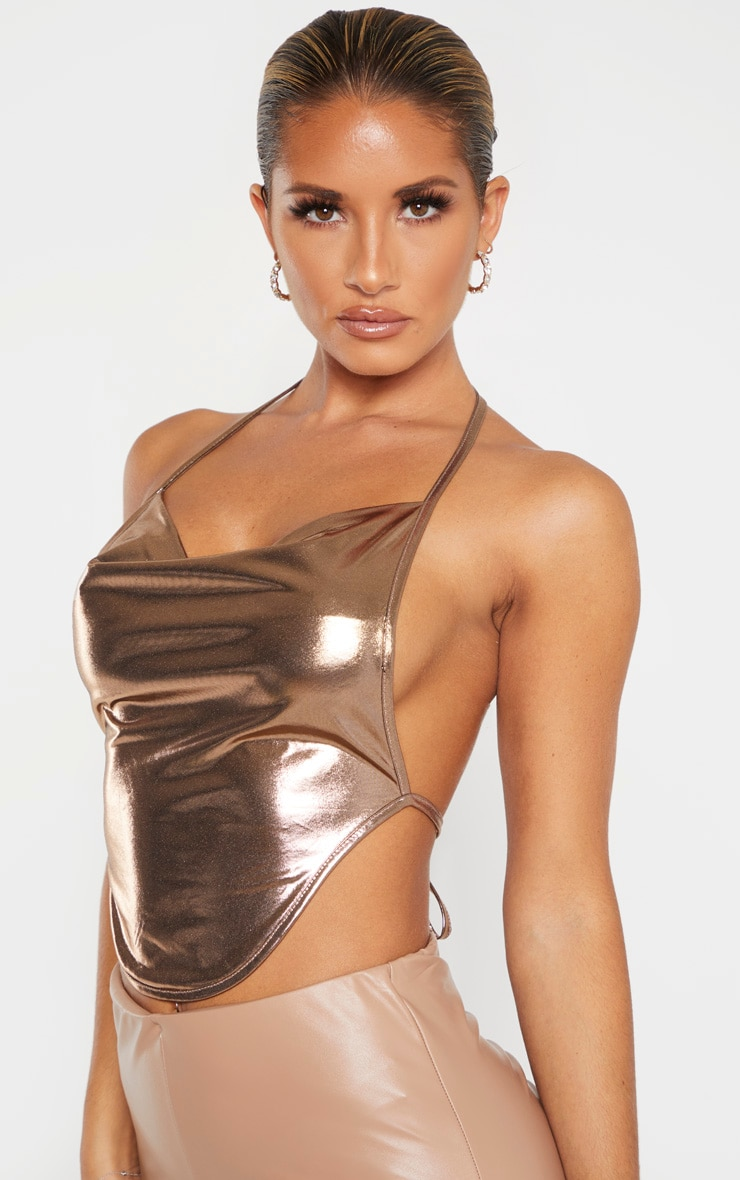 Bronze Metallic Halterneck Curved Hem Crop Top  5