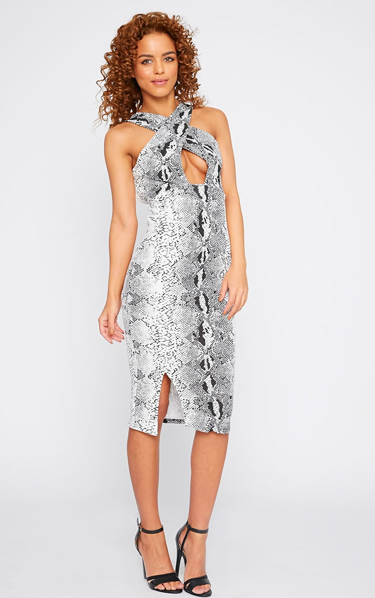 Tess Snake Print Cross Front Midi Dress 4