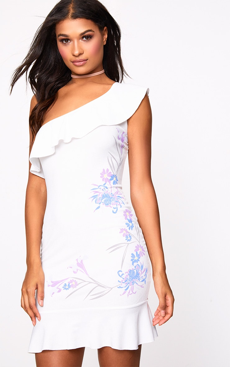White One Shoulder Bodycon Dress 1