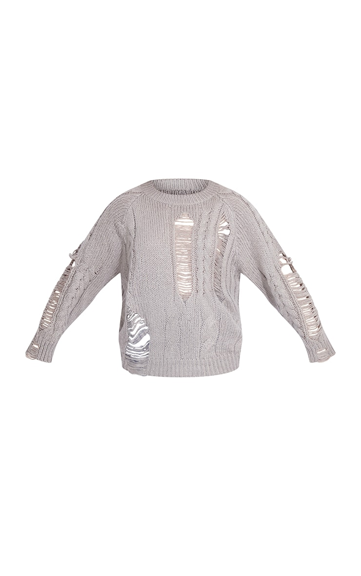 Grey Distressed Cable Knit Oversized Jumper 5