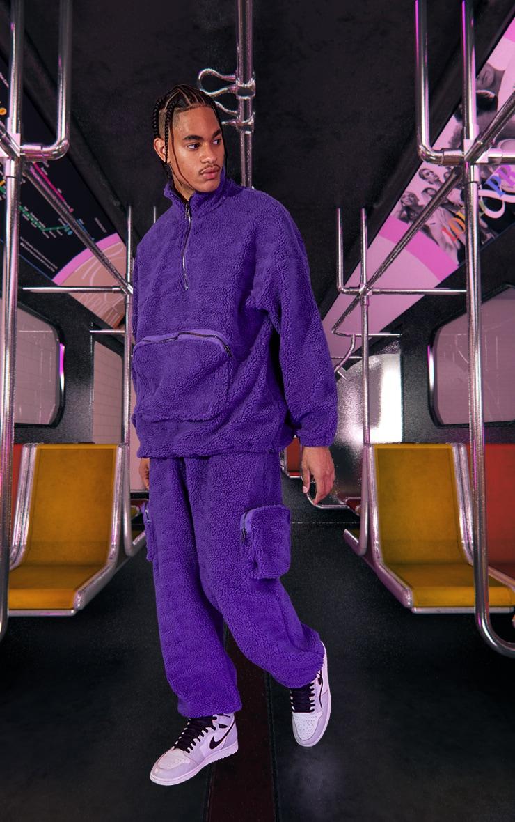 Purple Unisex Borg Oversized Jumper 4