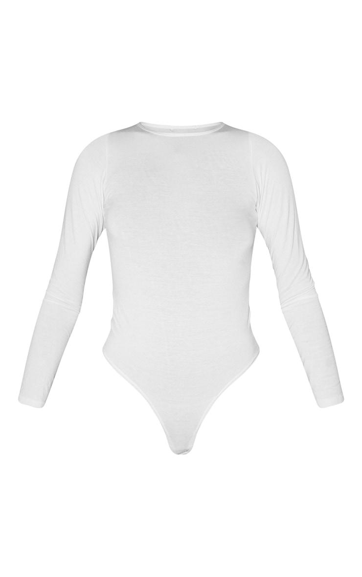 Tall White Basic Crew Neck Long Sleeve Bodysuit 5
