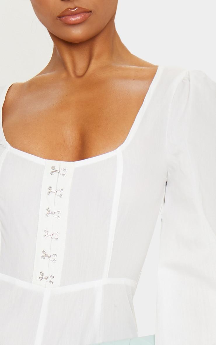 White Corset Detail Long Sleeve Jumpsuit 6