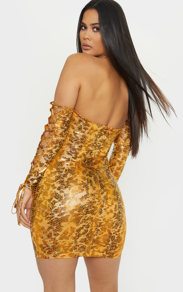 Bright Orange Metallic Snake Bardot Bodycon Dress 2