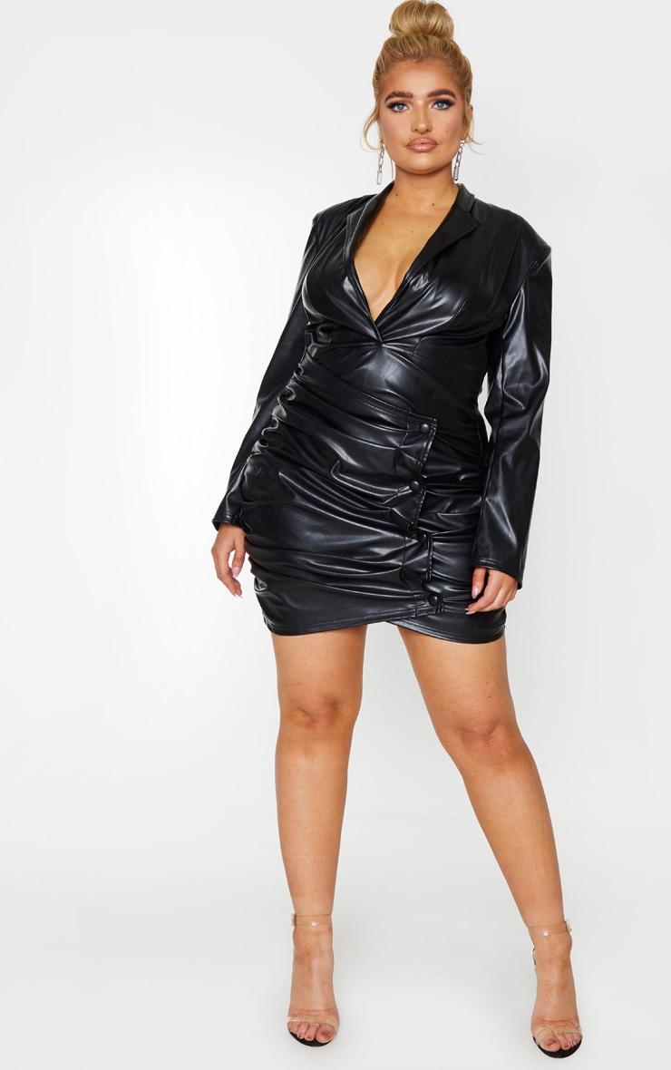 Plus Black PU Ruched Skirt Blazer Dress 3