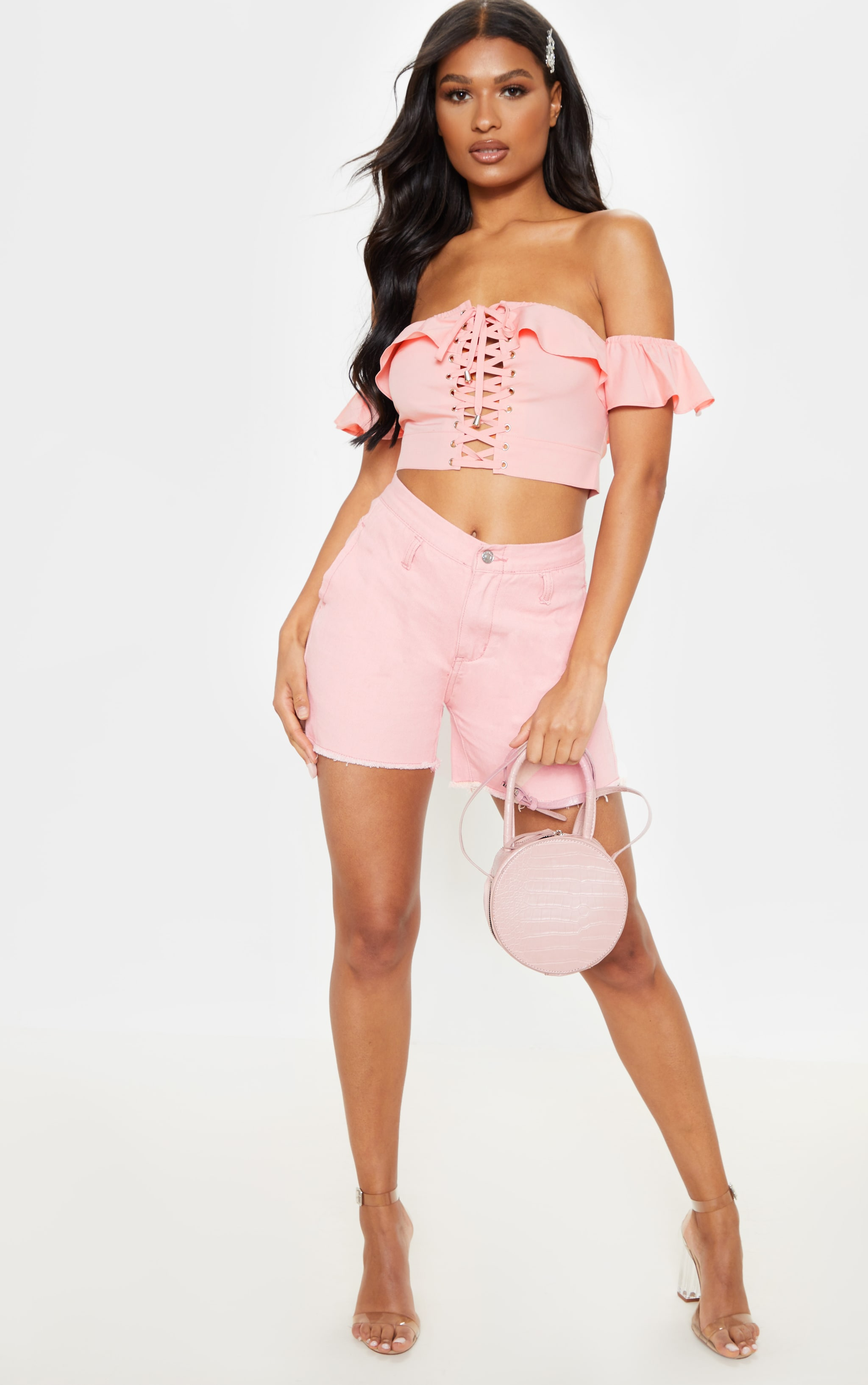 Rose Frill Lace Up Bardot Crop Top