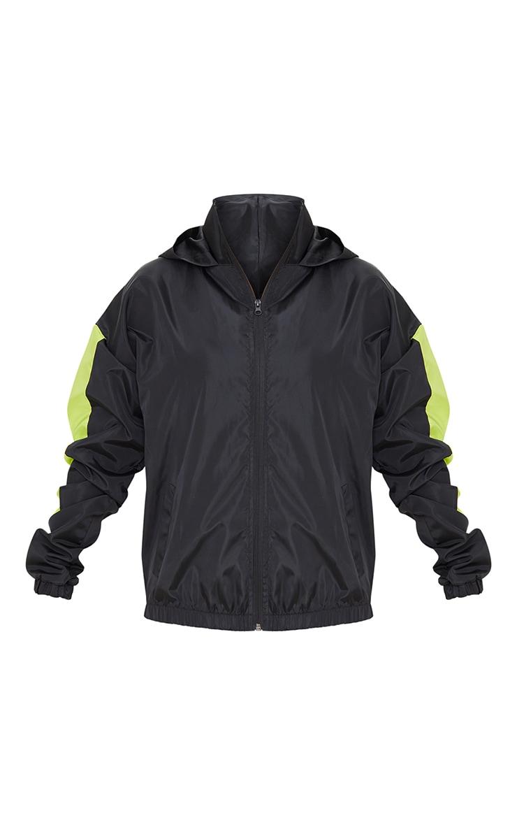 Black Shell Colour Panel Sleeve Hooded Tracksuit Jacket 5