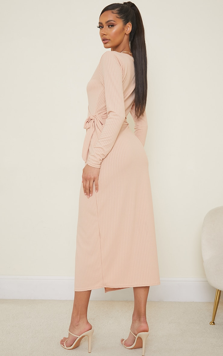 Stone Ribbed Wrap Tie Detail Long Sleeve Midaxi Dress 2