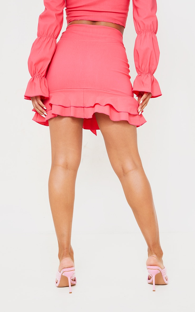 Hot Pink Woven Stretch Frill Front Mini Skirt 3