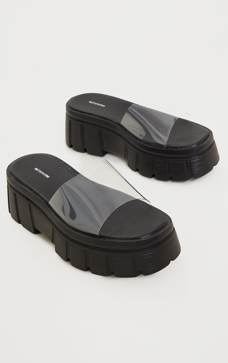 Black Extreme Chunky Sole Clear Strap Sandals 3