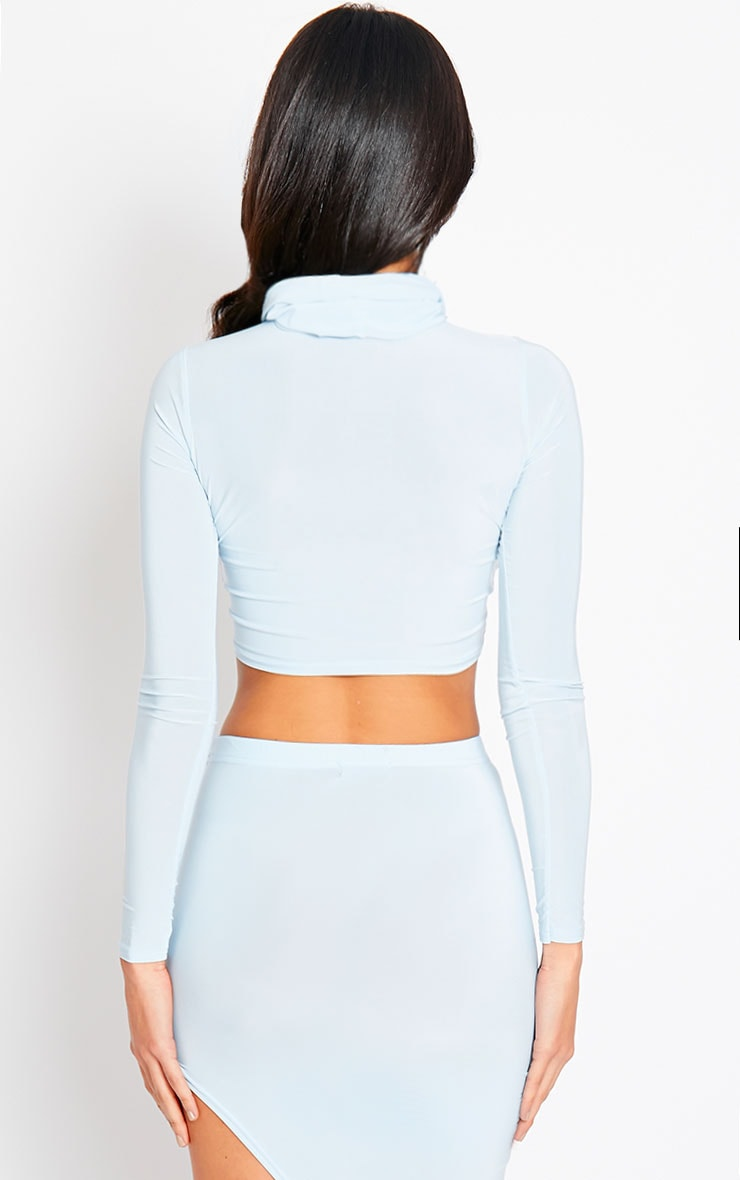 Alba Powder Blue Roll Neck Crop Top 2