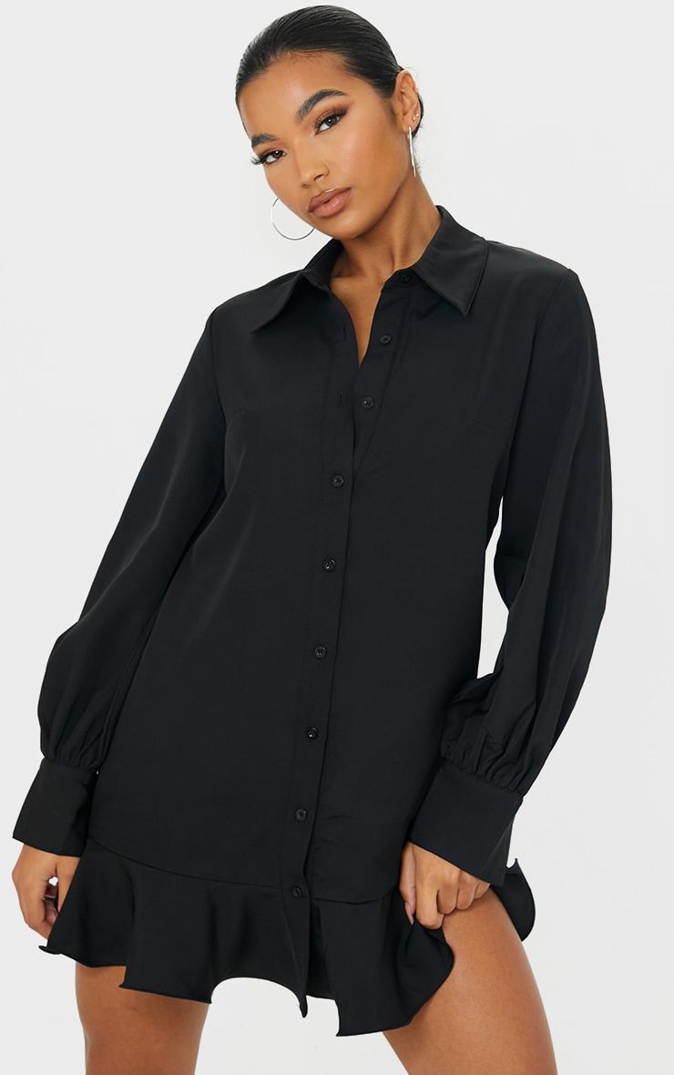 Black Frill Hem Shirt Dress 1