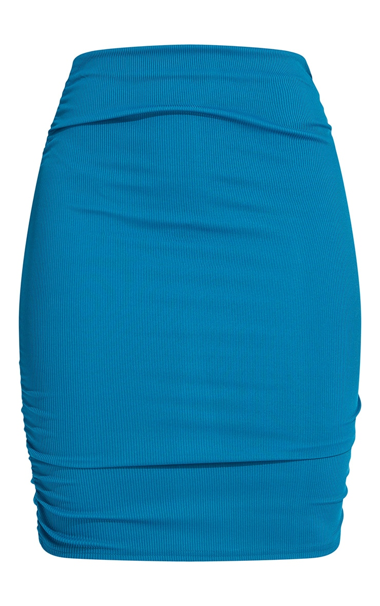 Shape Teal Rib Ruched Side Bodycon Skirt 6