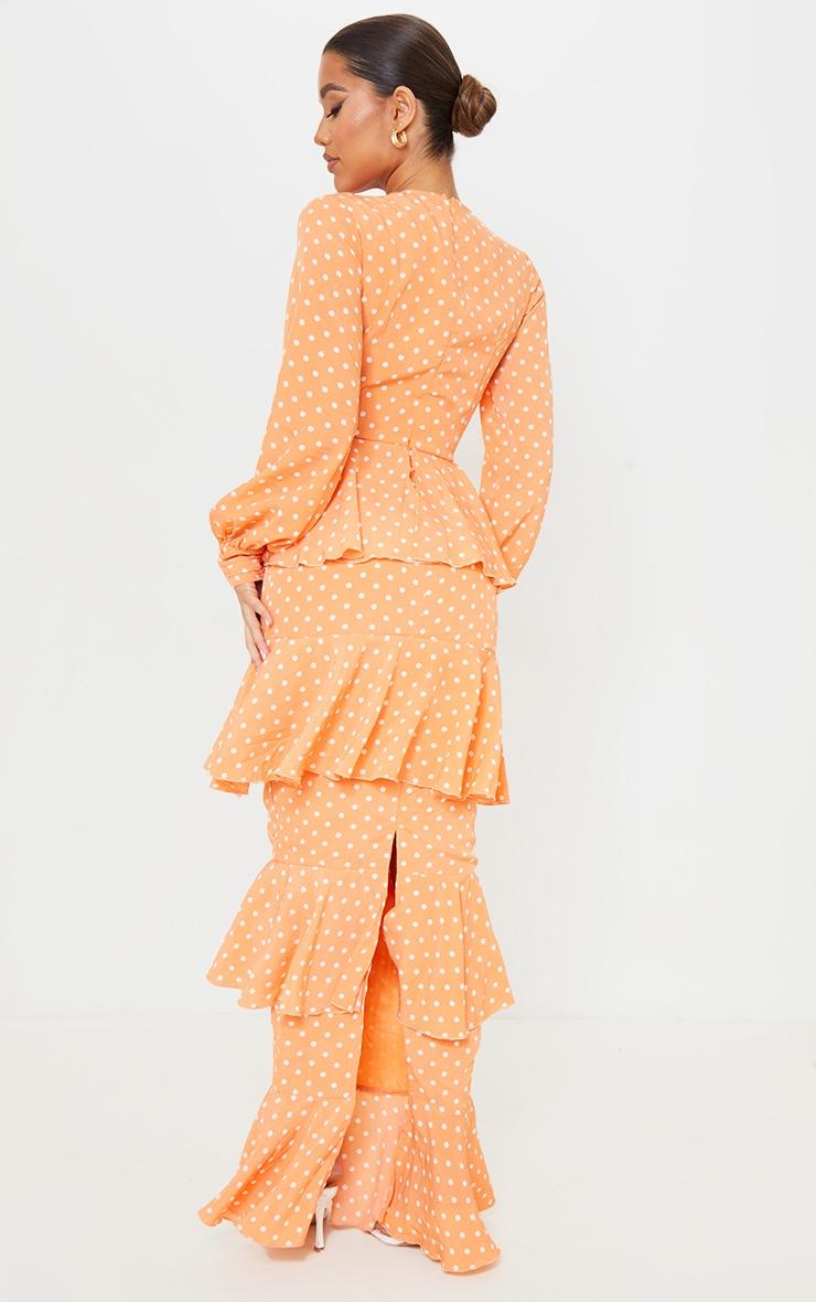 Peach Polka Dot Tiered Frill Long Sleeve Maxi Dress 2