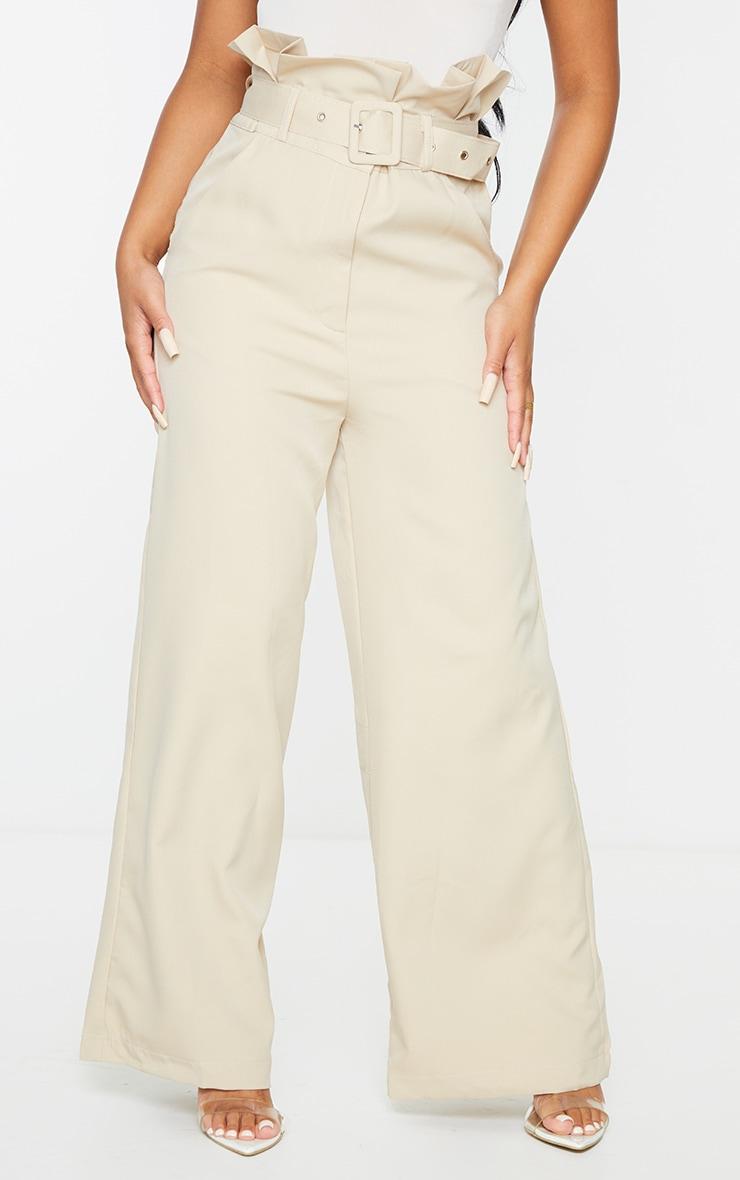 Petite Stone Extreme Satin Paper Bag Wide Leg Trousers 2