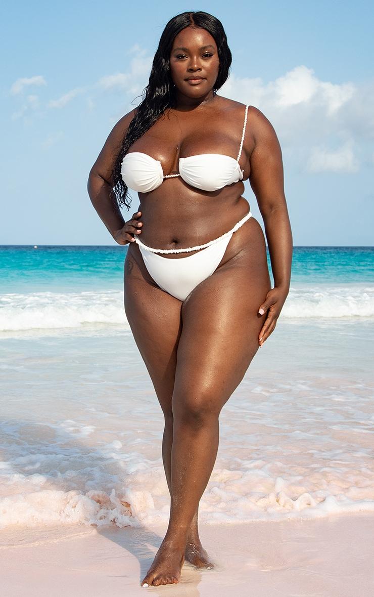 Plus White Pearl Strap Underwired Ruched Bikini Top 1