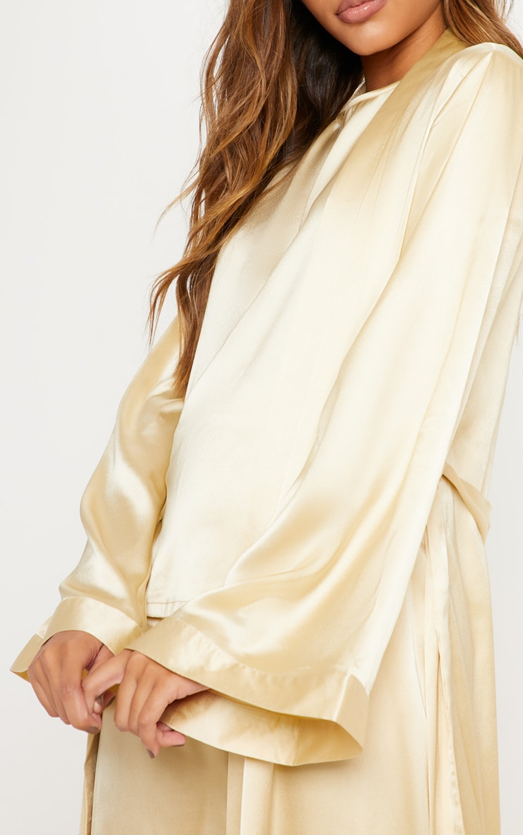 Champagne Basic Satin Robe 4