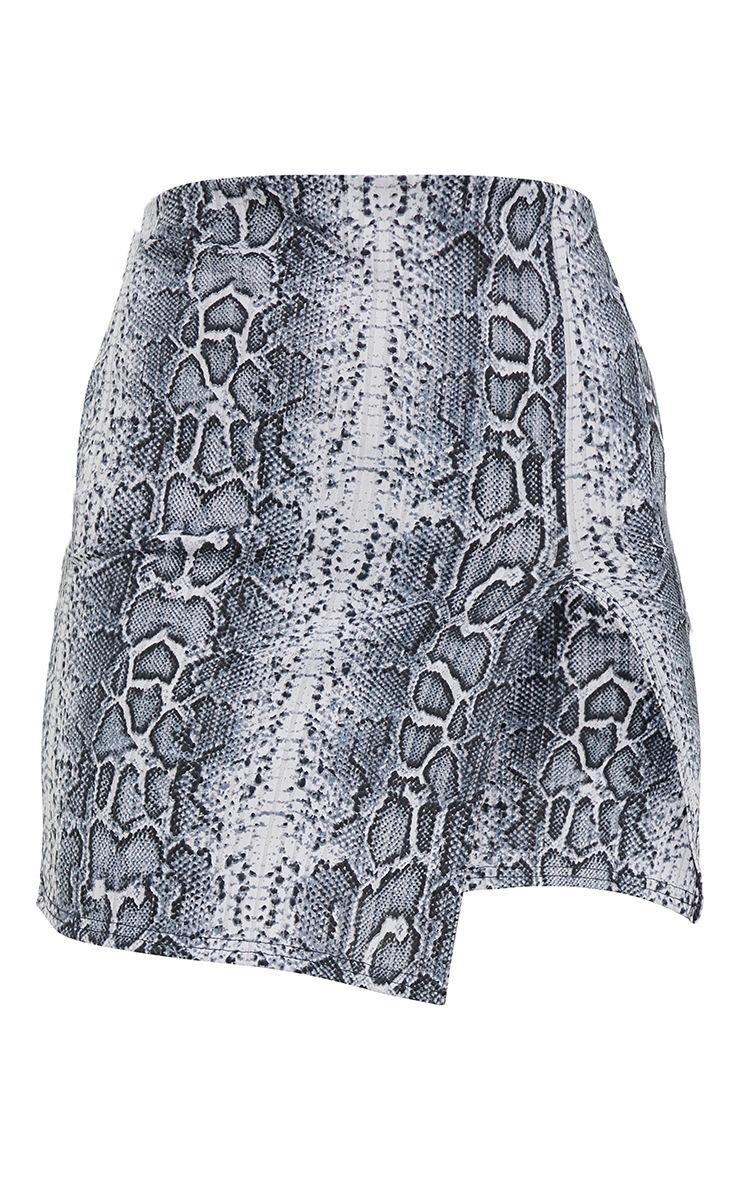 Grey Snake Print Rib Split Front Mini Skirt 6